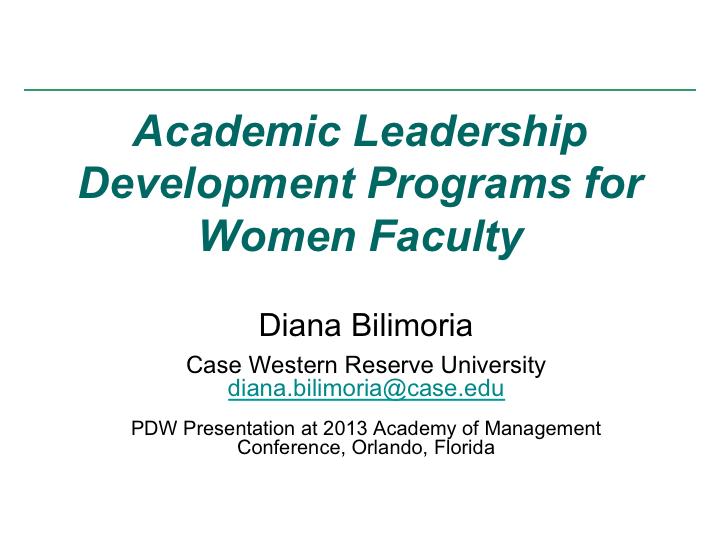 Presentations - Diana Bilimoria - Case Western Reserve